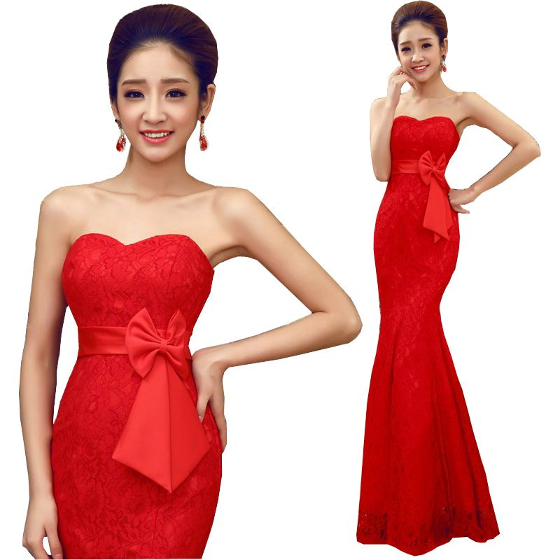 الأحمر مساء ثوب 2015 الساخن بيع حورية البحر رداء دي سواريه الدانتيل القوس حمالة مثير زائد حجم ا Red Evening Dress Evening Dresses 2017 Plus Size Formal Dresses