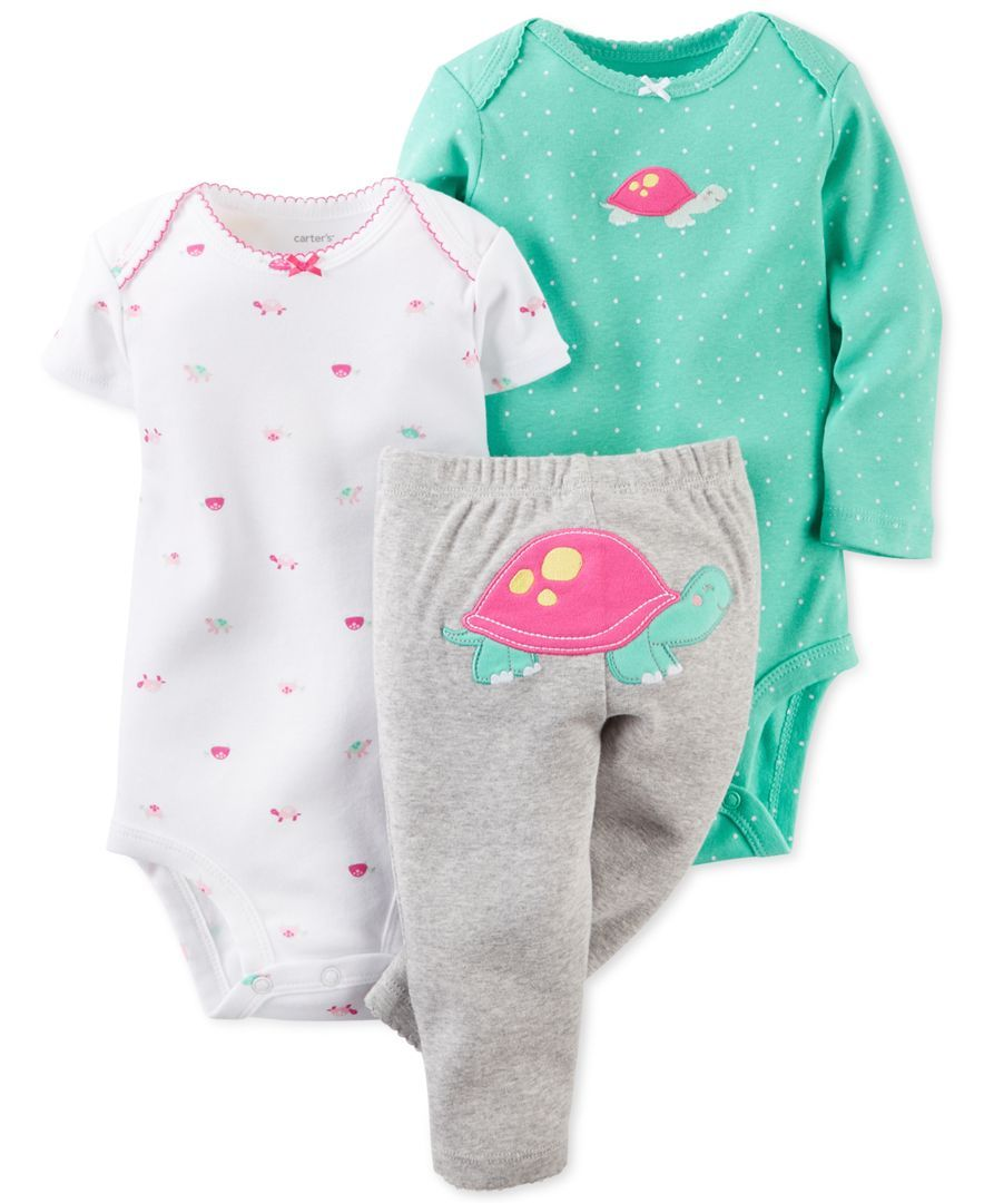 bc4acf42d Carter's Baby Girls' 3-Piece Turtle Bodysuits & Pants Set - Kids Baby