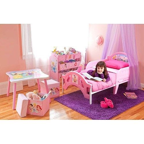 Princess Girls Bedroom Set Toddler Room in a Box Bed Toy Organizer ...