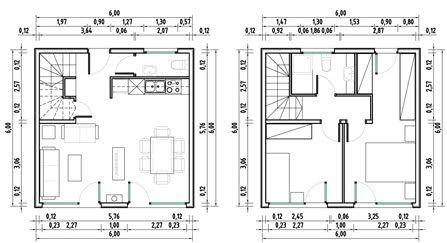 Planos de casas economicas casa cubo 72m2 6x6 qubichouse for Planos arquitectonicos de casas