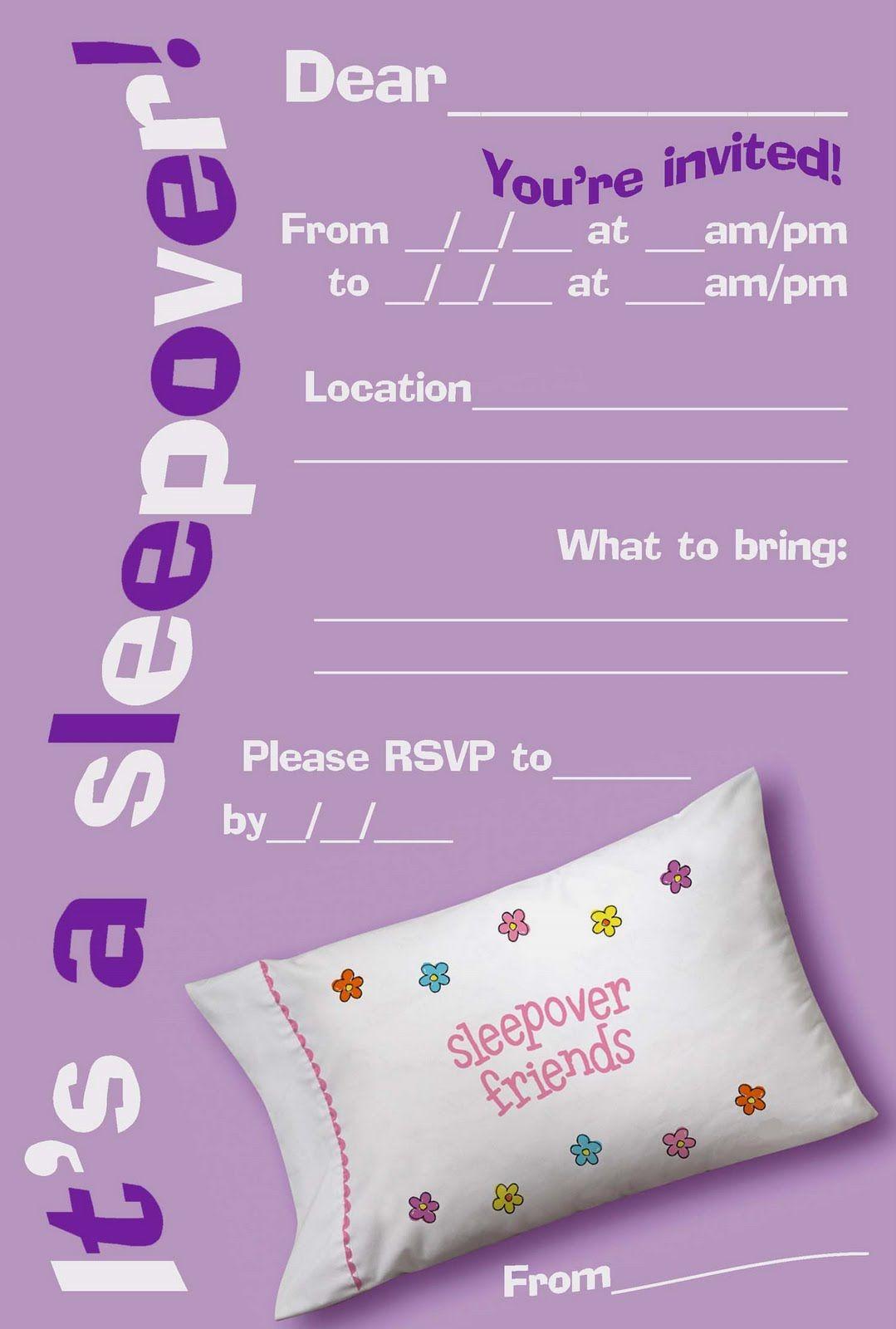 Printable Sleepover Birthday Invitations For Girls … | Pinteres…