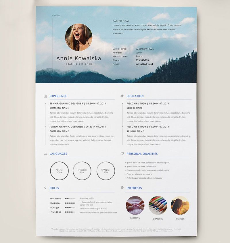 Best Free Clean Resume Templates in PSD, AI and Word Docx Format - portfolio word template