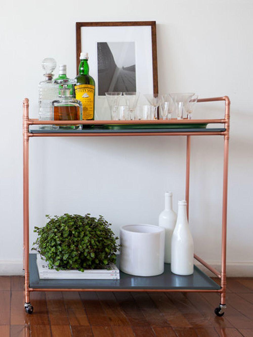 bar cart riviera chumbo, carrinho de chá feito em cobre | móveis ...