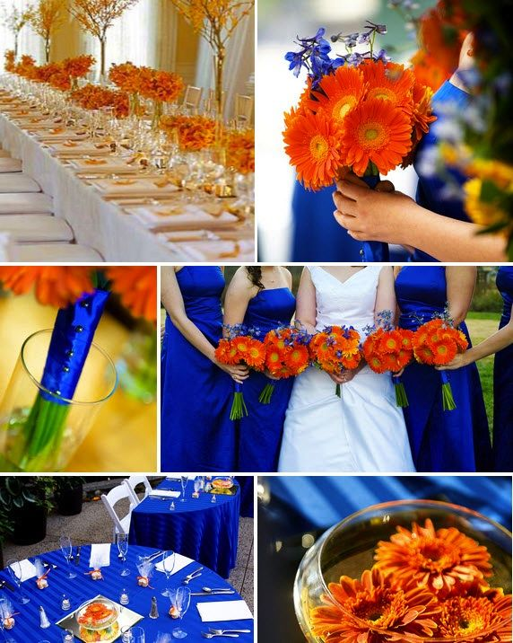 Royal Blue And Orange Centerpieces Weddings Royal Blue And Orange