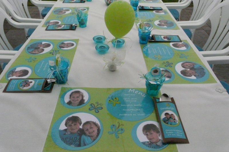 Communie feesttafel decoratie eerste communie for Ballonnen decoratie zelf maken