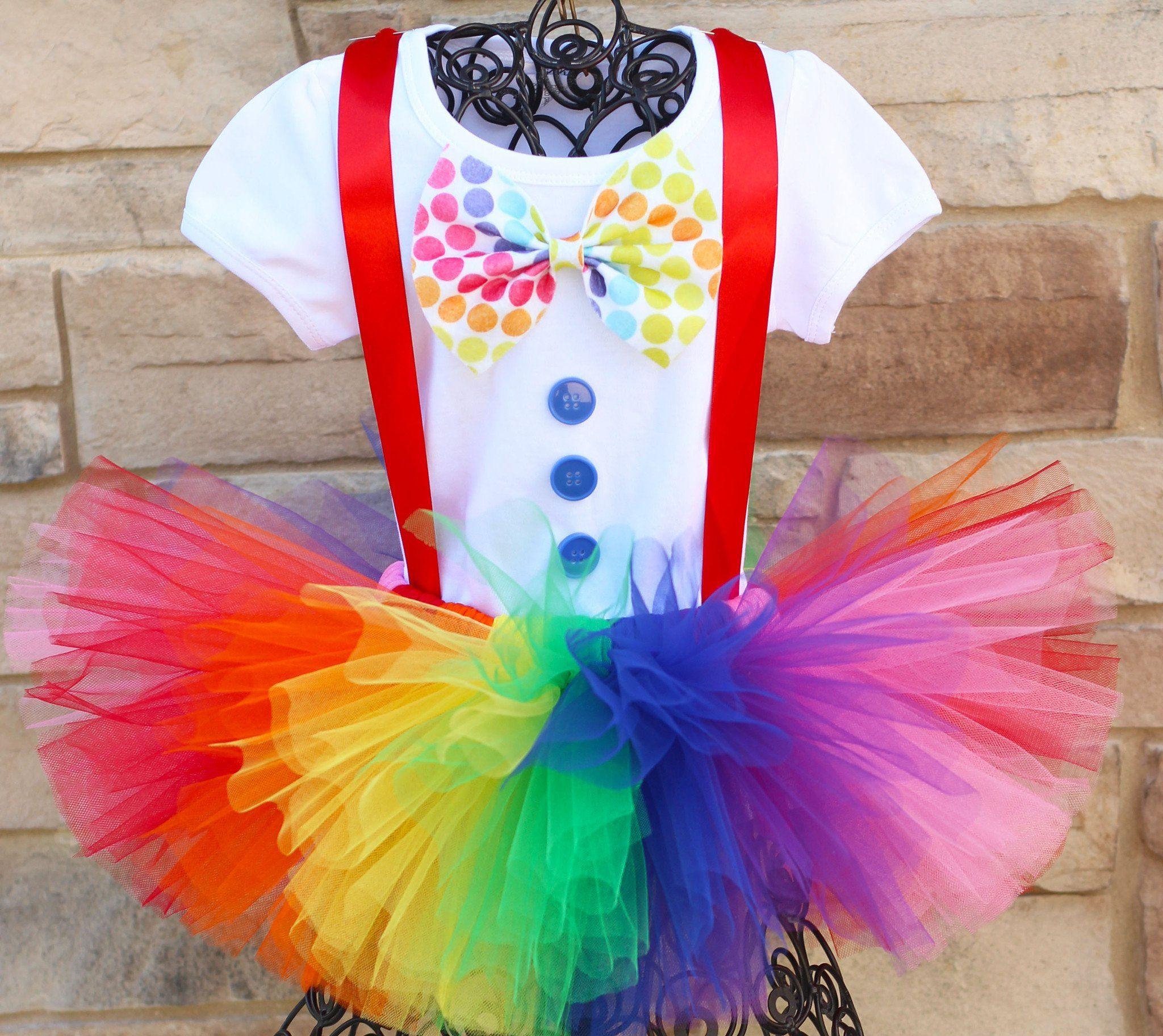 Girls Clown Halloween Costume Tutu Outfit