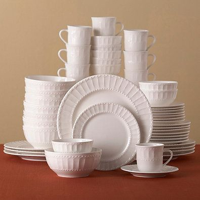 Gibson Designs All White Dinnerware Collection Embossed Dots