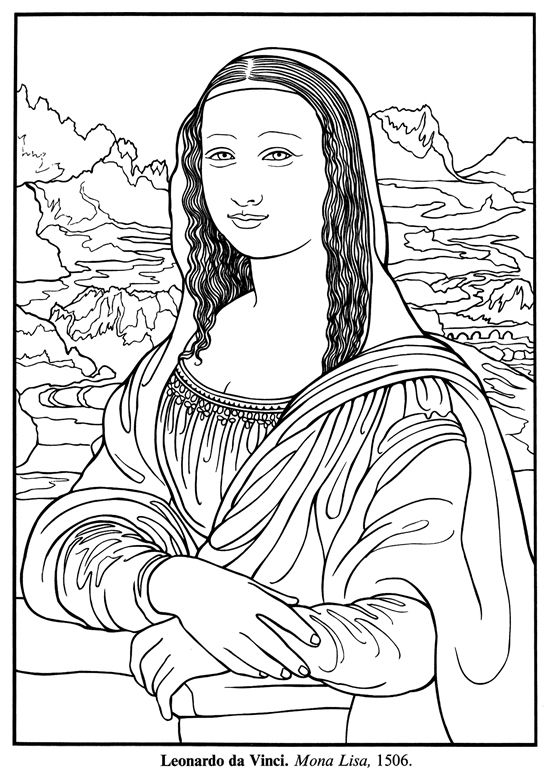 Freebie Mona Lisa For Emily Pinterest Art Coloring Pages And