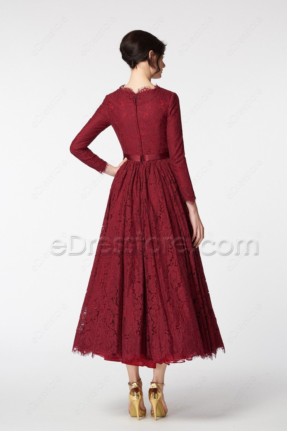 Modest scalloped lace vintage burgundy prom dresses long sleeves