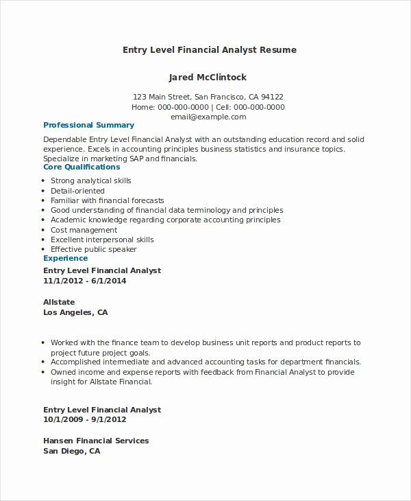 25 data analyst resume entry level in 2020  financial