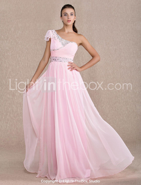 Sheath / Column One Shoulder Floor Length Chiffon Prom / Formal ...