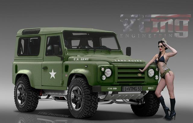 military ladies posing with green land rover defender. Black Bedroom Furniture Sets. Home Design Ideas
