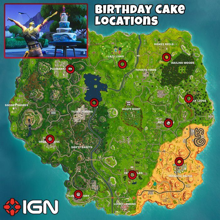Image result for fortnite birthday cake locations