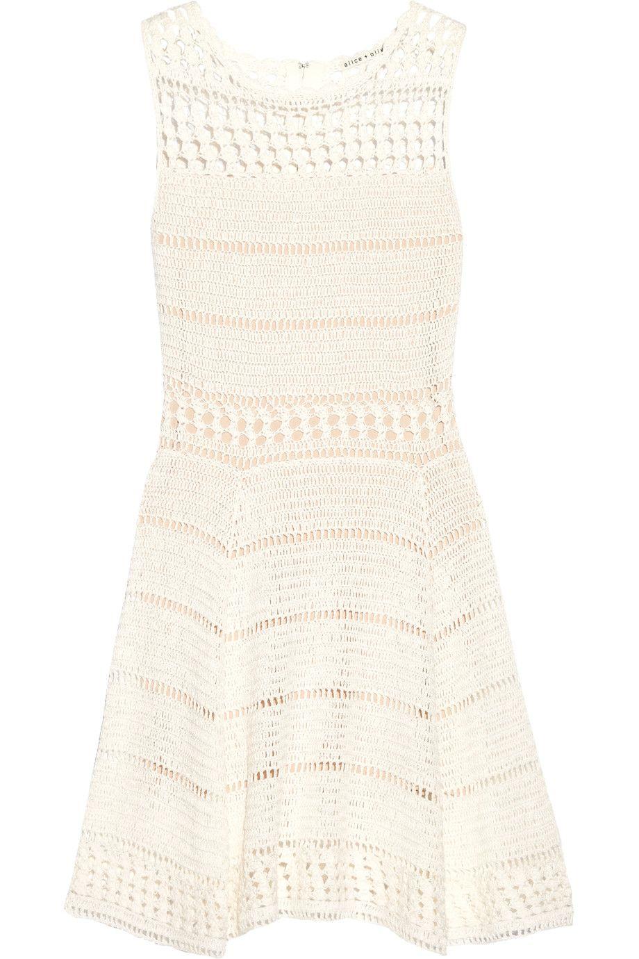 Noella Crocheted Linen Blend Mini Dress White Mini Dress White Fitted Dress White Short Dress