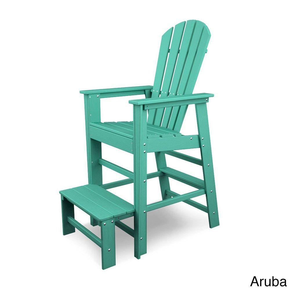 Polywood South Beach Polyethylene Lifeguard Chair (Aruba), Blue, Patio  Furniture (Plastic