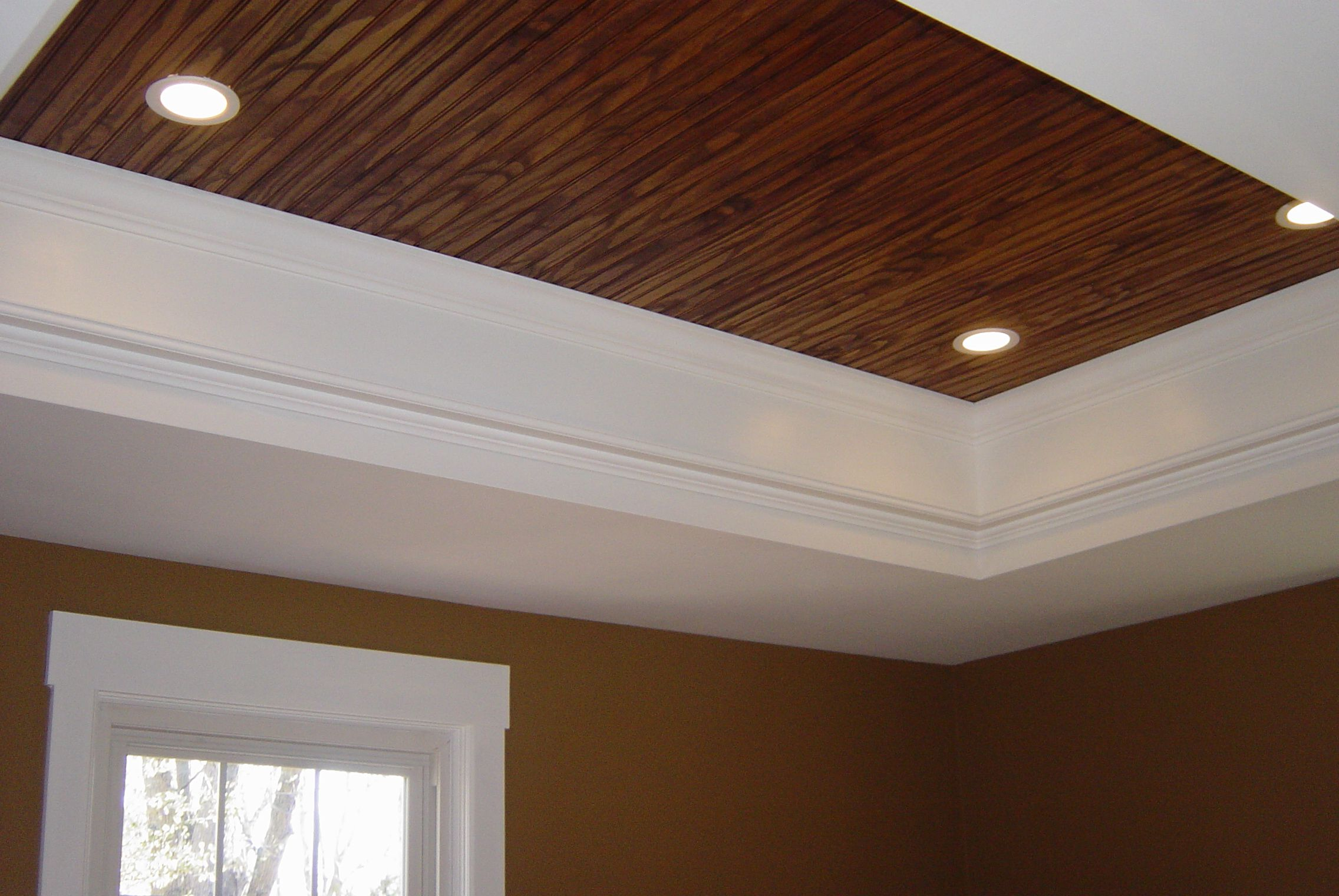 Love the plank tray ceiling i 39 d probably paint them white for Great ceiling ideas