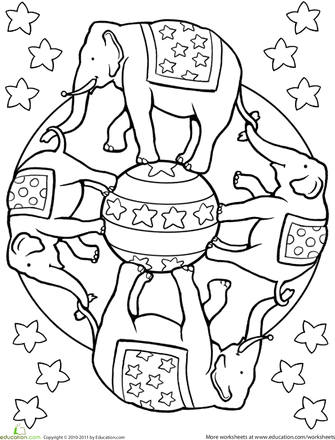 Elephant mandala worksheet education com coloring pages