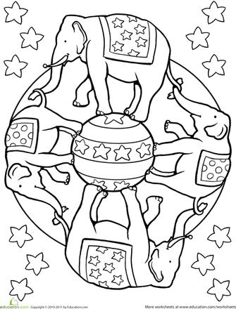 Elephant Mandala Worksheets and Markers