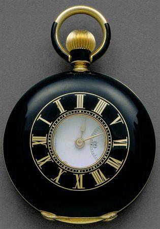 Gold, enamel, glass pocket watch, B. Poitevin, second half of XIX, Switzerland