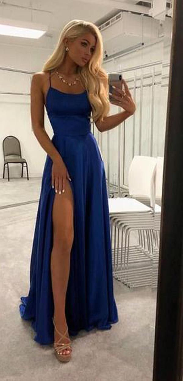 High Slit Spaghetti straps Royal Blue Long Prom/Evening Dresses PG750 #royalblue #promdress #bluepromdresses