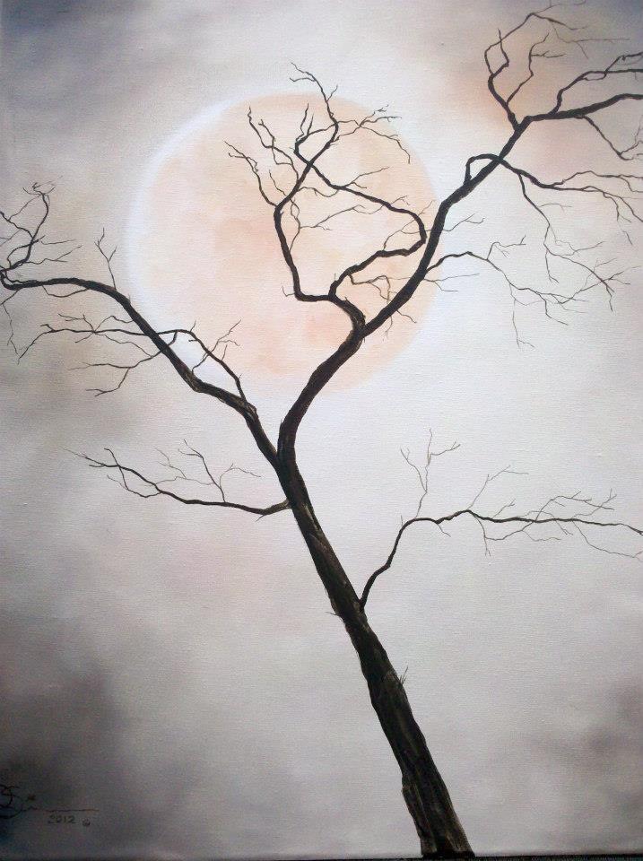 "MoonDREAMS * ARTchemy by P Simon, on Facebook...     ""Harvest Moon"" oil on canvas 16"" X 20"" $75 unframed"