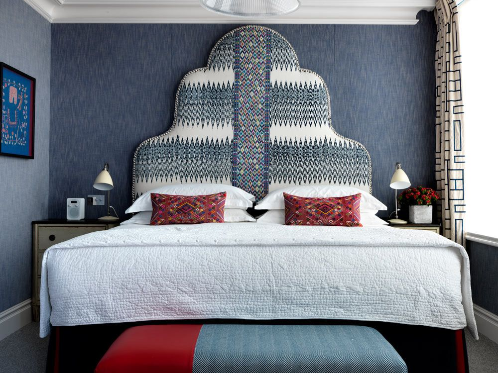 Custom Headboard Upholstered With Mayan Textiles From A Rum Fellow Uk