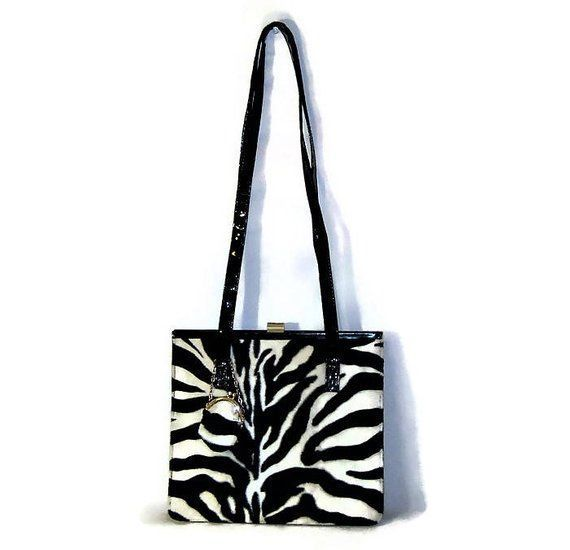 668883a82384 80s Shoulder Bag Faux Patent LeatherFaux Zebra Purse 1980s