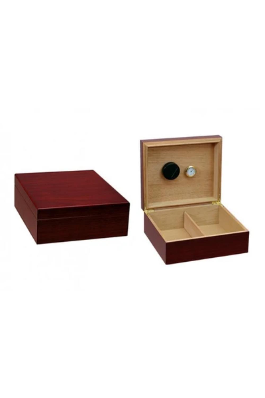 Cigar Humidor Box Chalet Wood Hygrometer Humidifier Cedar Black Divider Case New
