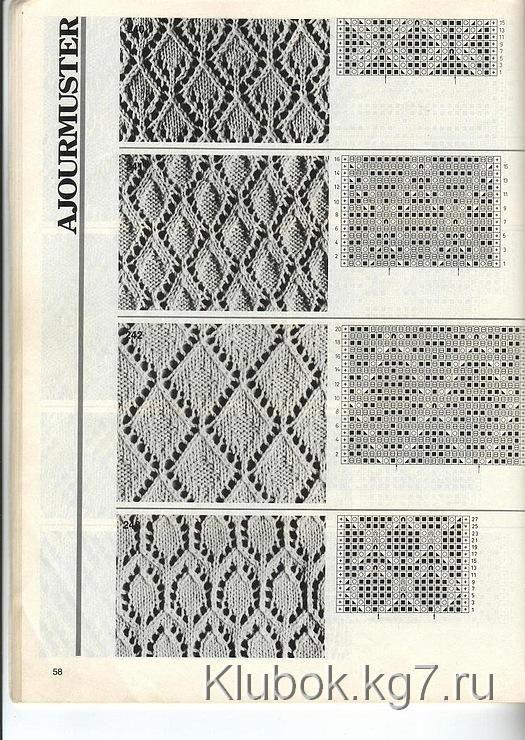 схемы вязания ажурных носков