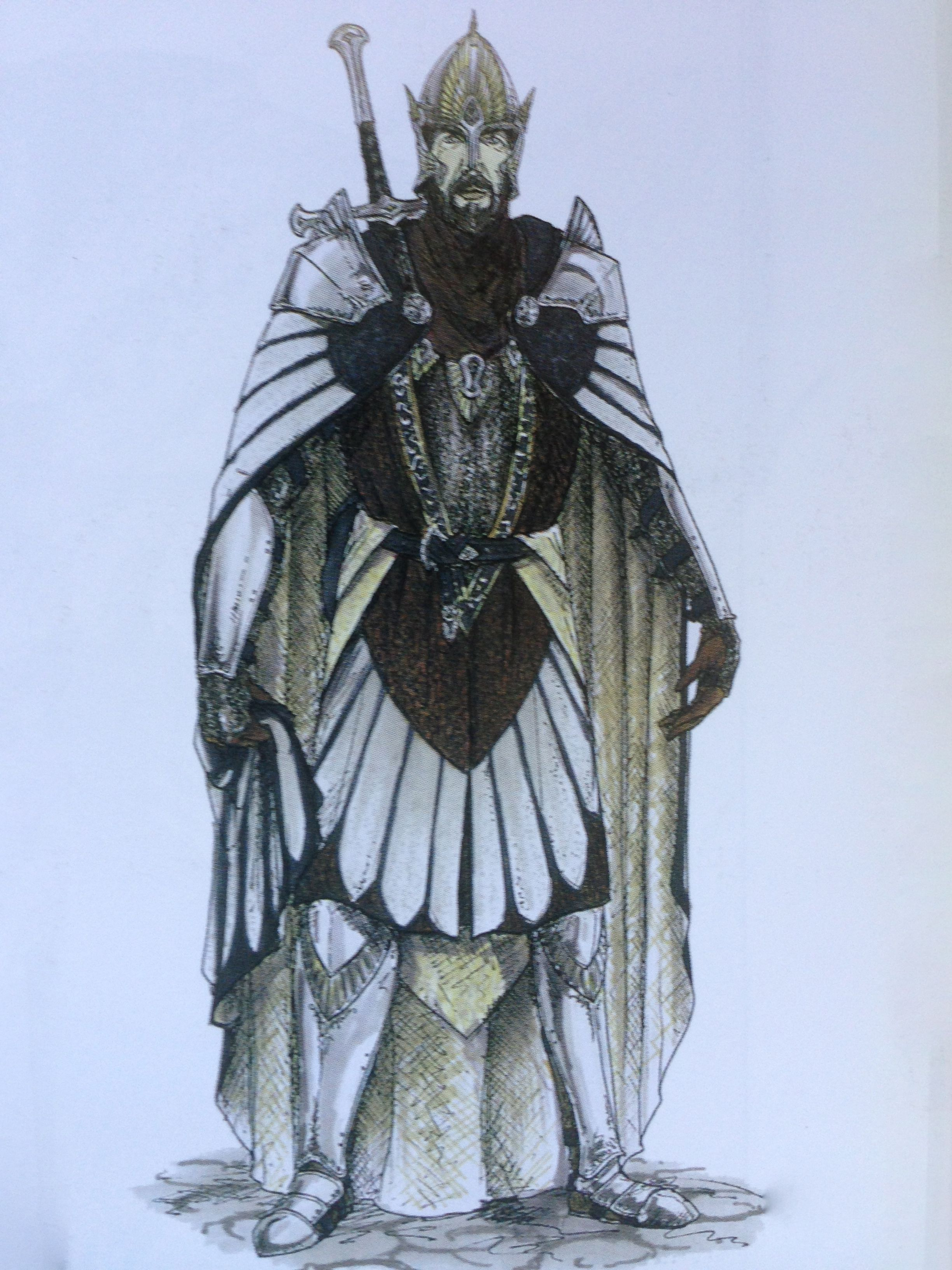 Concept Art Of Elendil In Armor From The Prologue Sequence