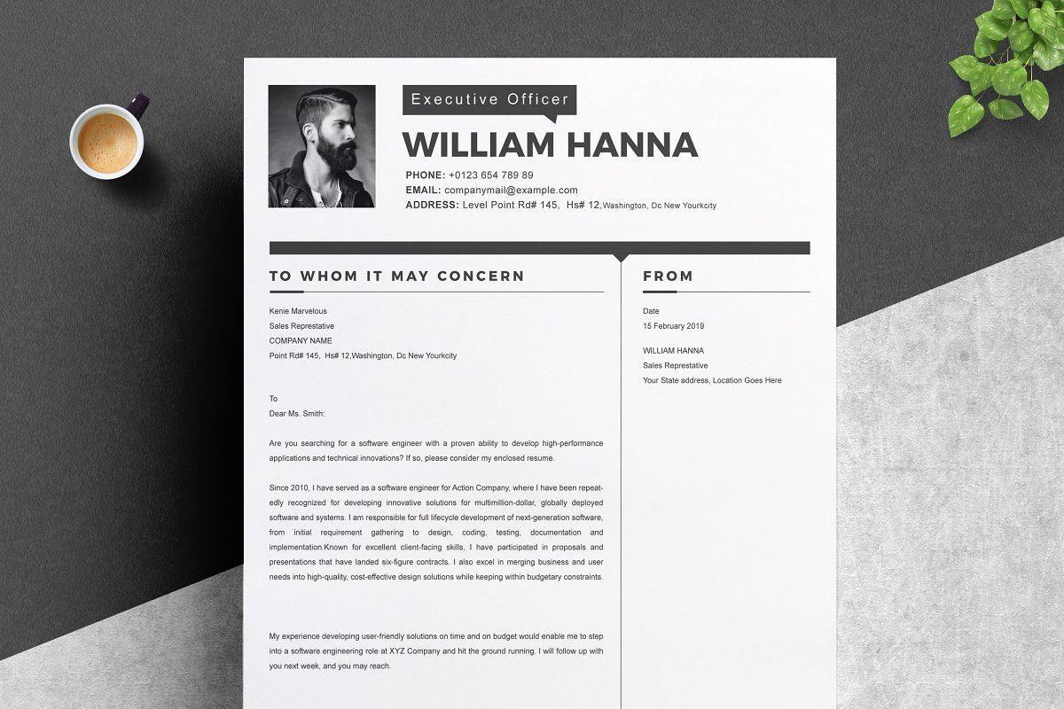 2 Page Resume Template Cover Letter Spon Resume Design Piece Resume Affiliate Lettering Design William Hanna