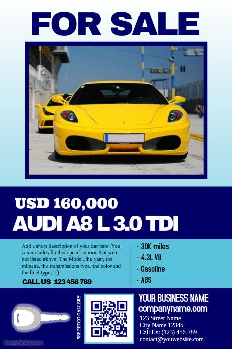 Car sale flyer - Clean, Big text, Big image - Great for featuring - car sale flyer