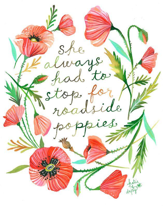 Roadside Poppies art print  Botanical watercolor painting  | Etsy