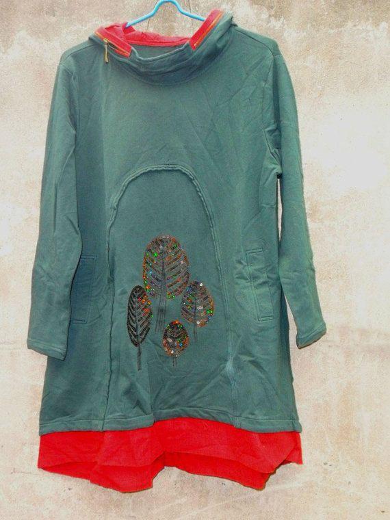 hooded babydoll cotton Long dress in dark green by MaLieb on Etsy, $68.00
