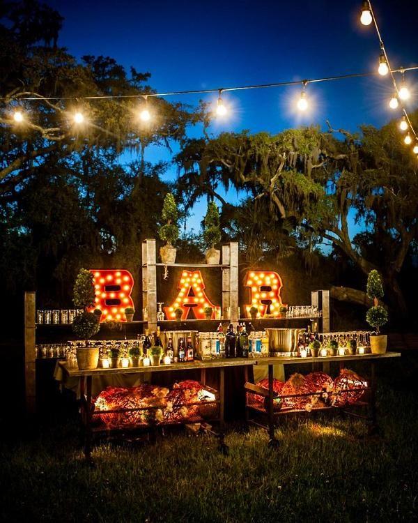 rustic backyard drink bar wedding decor