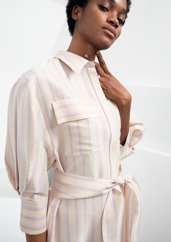 Pdp Striped Midi Dress Puff Sleeve Midi Dresses Fashion Wear [ 1448 x 1025 Pixel ]