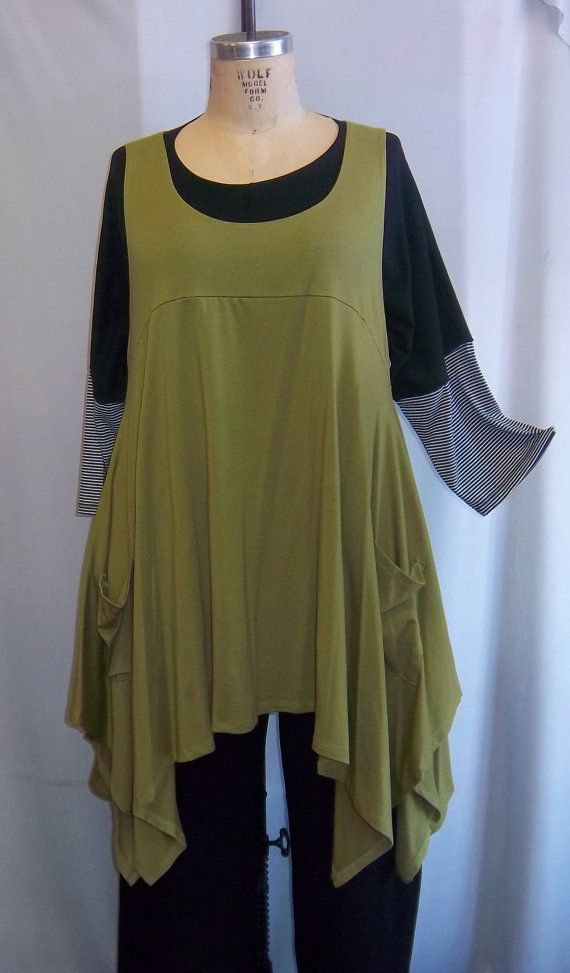 Coco and Juan Plus Size Top Lagenlook Layering Tunic Top Kiwi Cotton ...