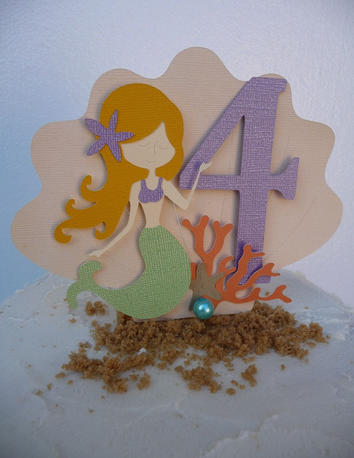 Mermaid Cake Topper Under the Sea Theme Beach Pool Party ANY
