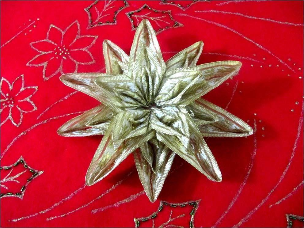 Estrellas Navideñas Brillantes Seis Capas En Cintas Christmas Bows Stars Estrella Navideña Cintas Navideñas Flor Navideña