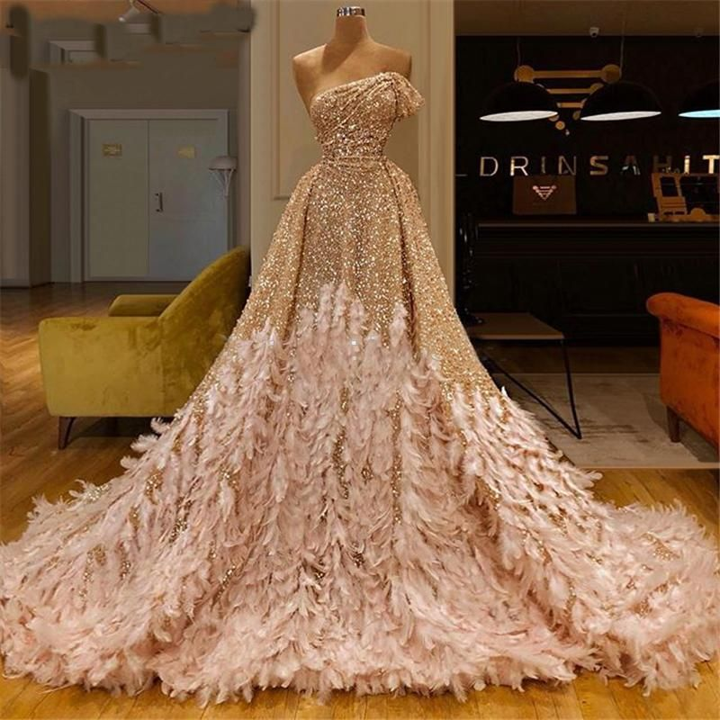 luxury feather prom dresses with detachable skirt champagne sparkly one shoulder elegant prom gown casamento