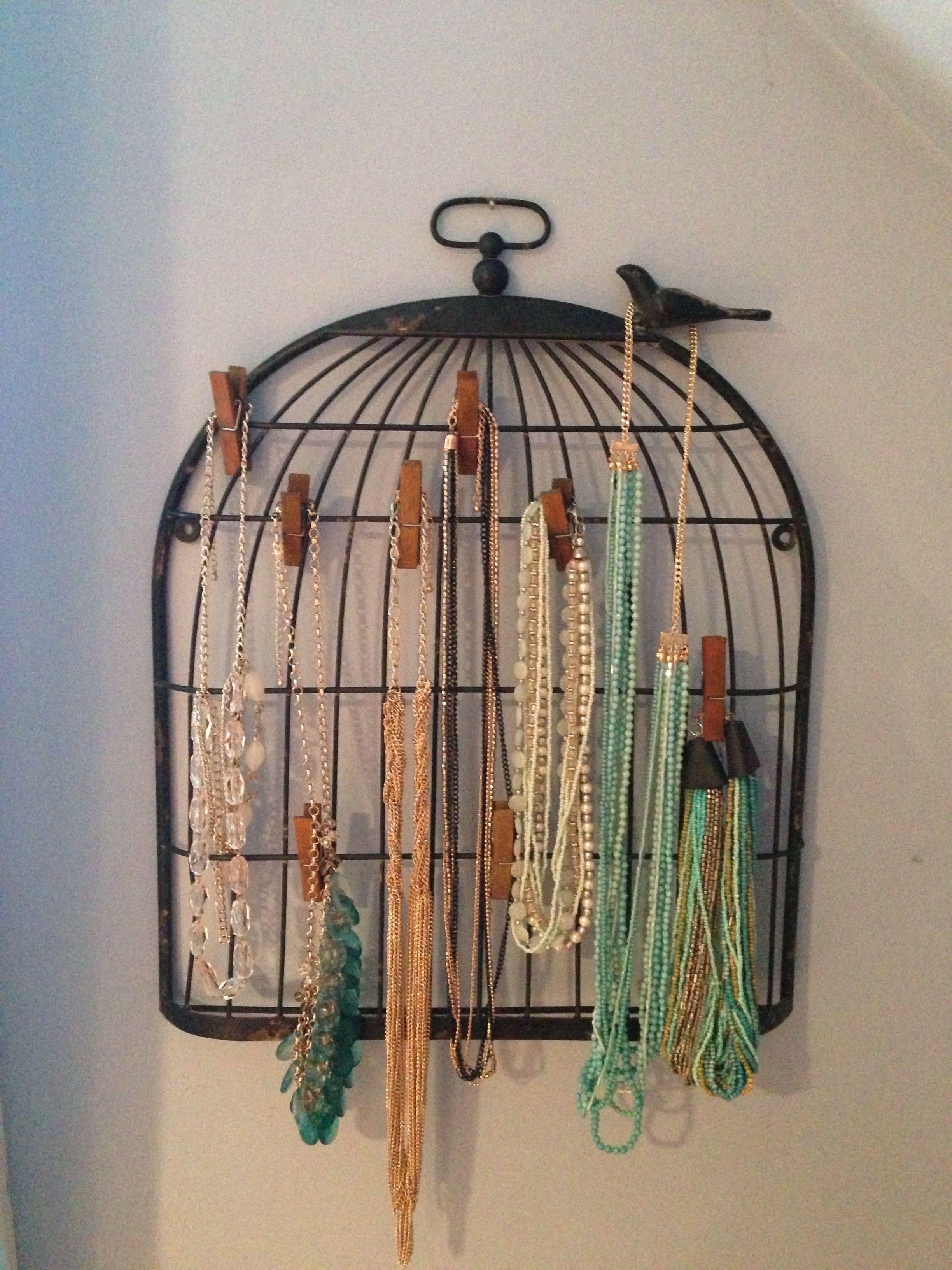 Birdcage Note Holder Turned Necklace Holder