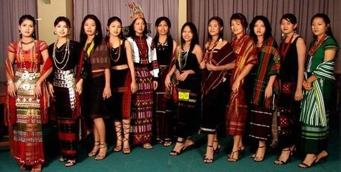Different traditional wear of various tribal clans of Mizoram
