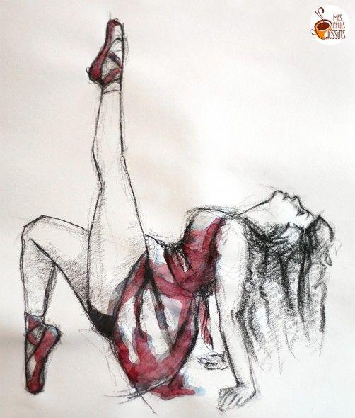 Tuto comment dessiner une danseuse dessin aquarelle fusain dessin illustration - Dessin de danseuse moderne jazz ...