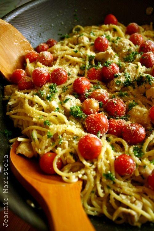 Spaghetti in Garlic Gravy with Herbs, Lemon Marinated Chicken, and Cherry Tomatoes