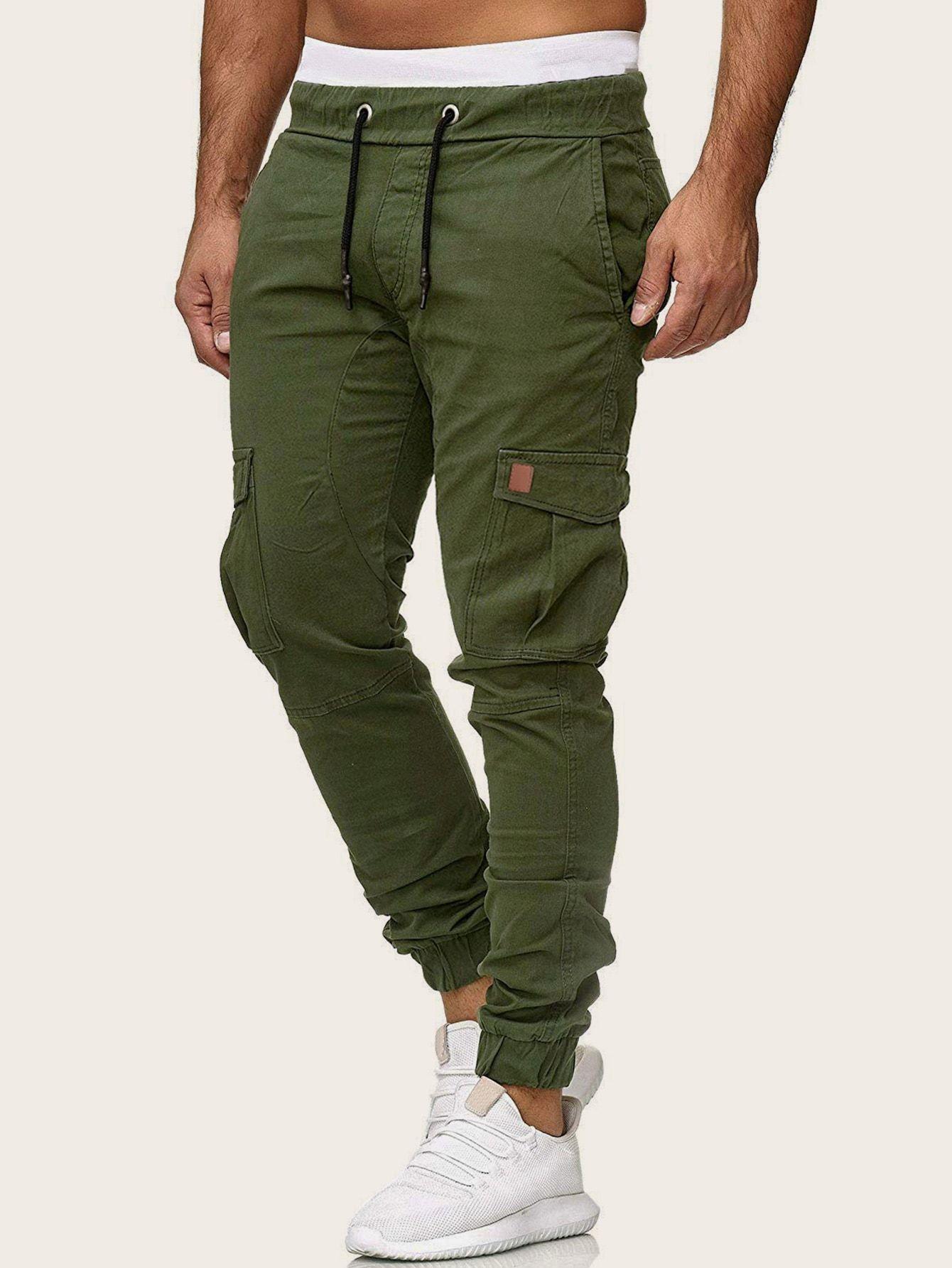 Pantalones Cargo De Hombres De Cintura Con Cordon Con Bolsillo Lateral Shein In 2021 Bodybuilding Pants Mens Cardigan Sweater Mens Sweatpants