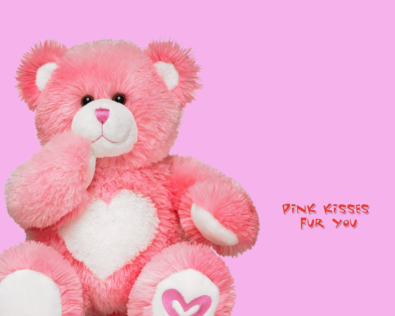 pink teddy bear with heart kiss love hd wallpapers | teddy bear