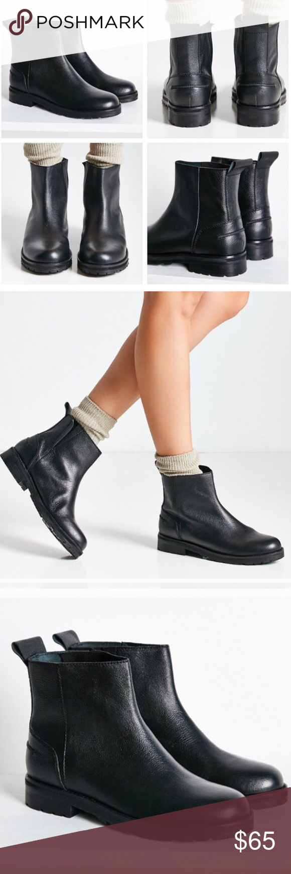 Urban Outfitters Pull On Leather Boots Urban Outfitters Jay Leather Pull On Boots. Minimal Pull On ankle boots in a soft grainy leather. Detailed with stretch paneling at the seam, plus heel tabs for easy on/off.                                      Content/Care: leather, rubber, wipe clean. Urban Outfitters Shoes Ankle Boots & Booties