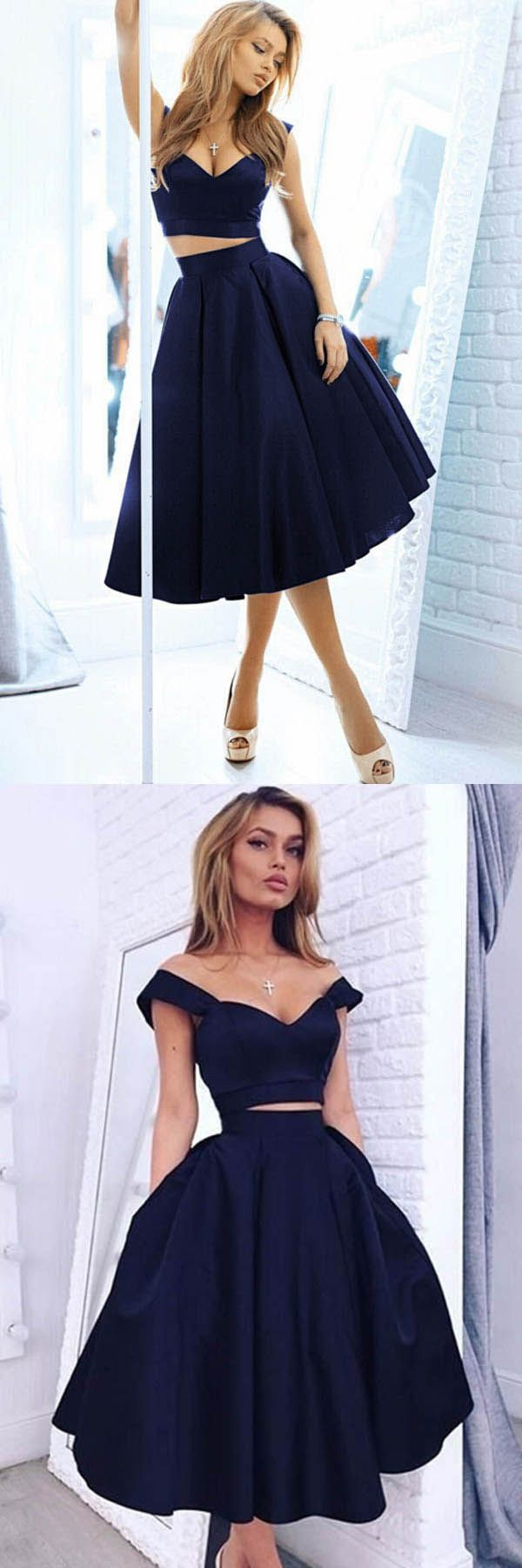 Cheap excellent prom dresses chic off the shoulder navy blue