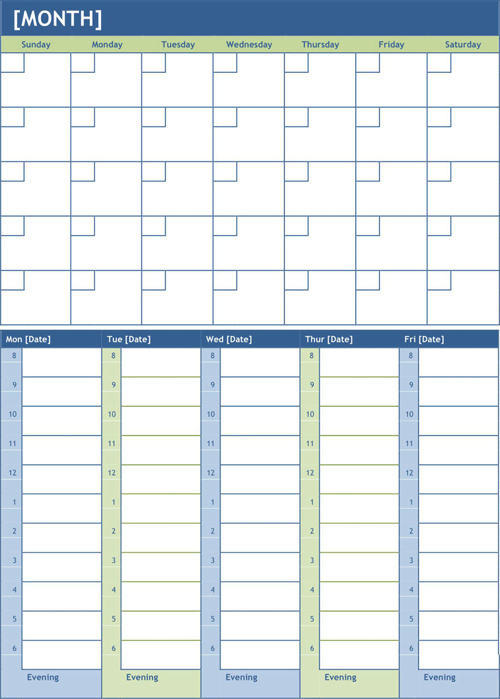 Monthly Planning Calendar Template Activities Pinterest