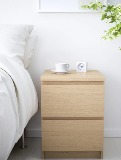 Ikea Malm Chest Of 2 Drawers White, White Gloss Bedroom Furniture Nz